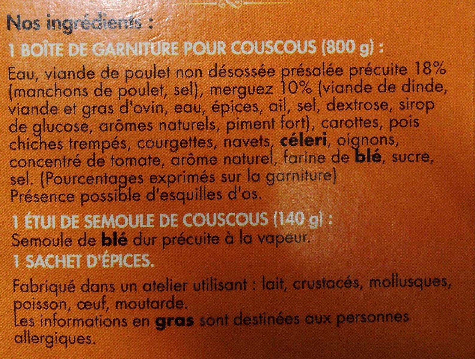 Couscous Zapetti - Ingrédients - fr