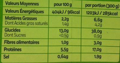 Pavé de Colin, Légumes cuisinés à la crème  & riz (2,2 % MG) - Informations nutritionnelles - fr