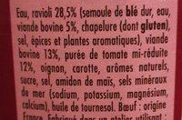 Ravioli Max de Boeuf - Ingrédients
