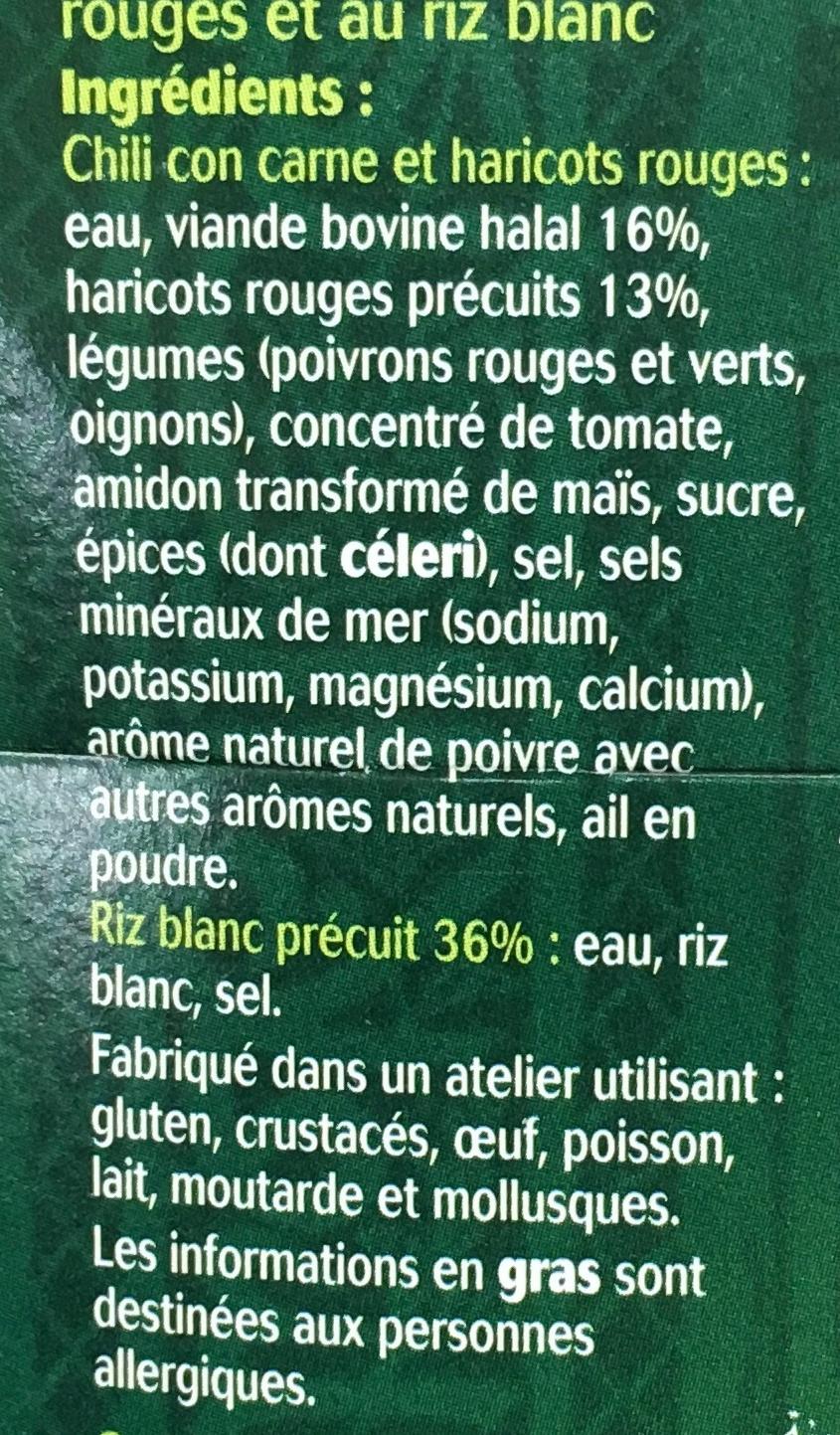 Chili con Carne et Riz - Ingrédients - fr