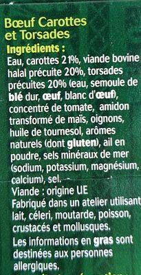 Bœuf Carottes et Torsades - Ingrédients