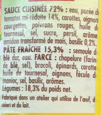 Ravioli 6 Légumes sauce Tomate au Basilic - Ingrédients - fr