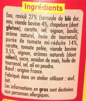 Ravioli pur boeuf - Ingrédients