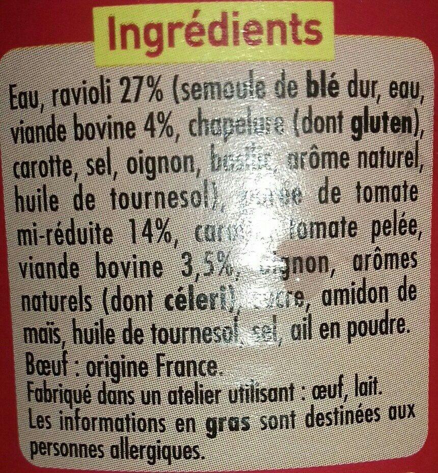 Ravioli Pur Bœuf (Sauce Tomate Cuisinée) - Ingrédients - fr