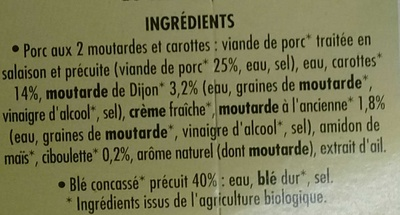 Porc aux 2 Moutardes carottes et blé concassé - Ingredients