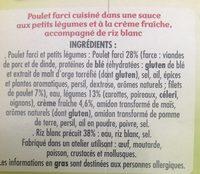 Poulet farci petits legumes et riz blanc - Ingredients
