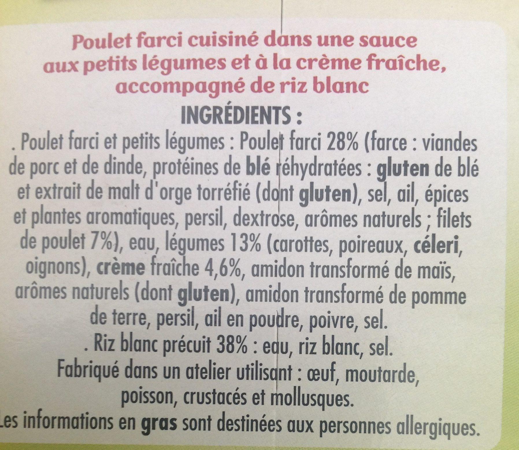 Poulet farci petits legumes et riz blanc - Ingredients - fr