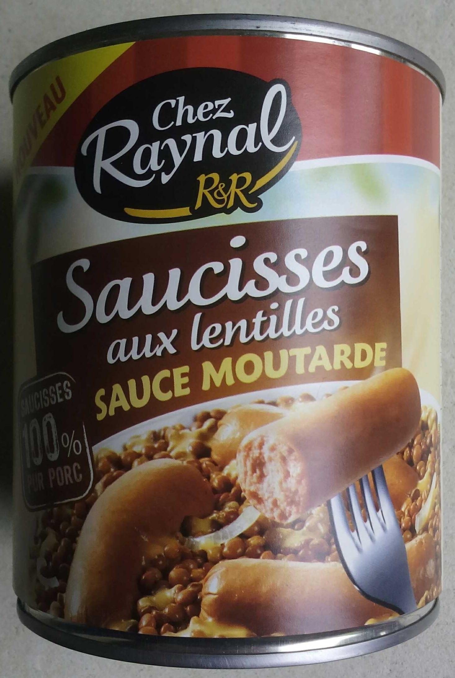 Saucisses aux lentilles sauce moutarde - Produit - fr