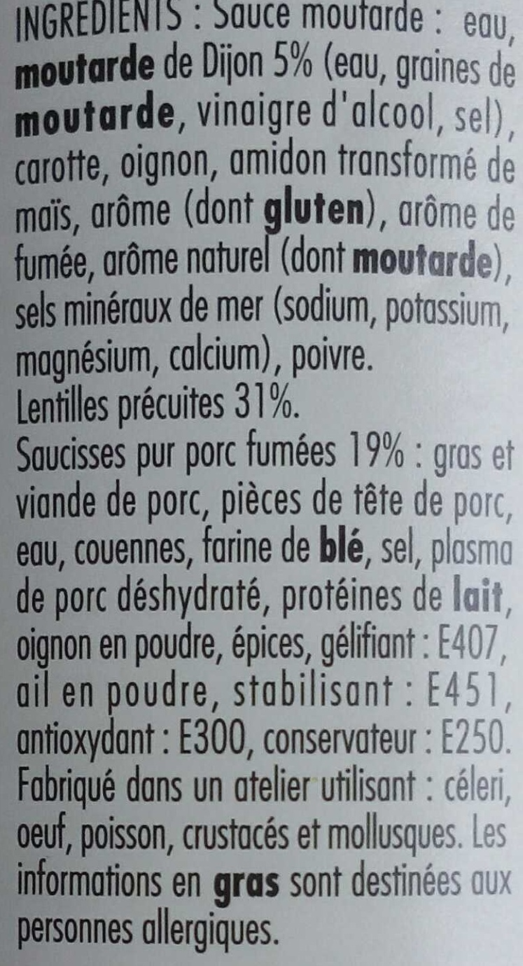 Saucisses aux lentilles sauce moutarde - Ingredients