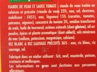 Veau cuisiné à l'Italienne Riz blanc & riz sauvage - Ingrédients