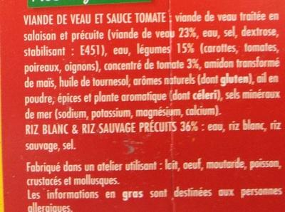 Veau cuisiné à l'Italienne Riz blanc & riz sauvage - Ingredients