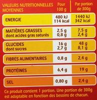 Veau cuisiné à l'Italienne Riz blanc & riz sauvage - Informations nutritionnelles