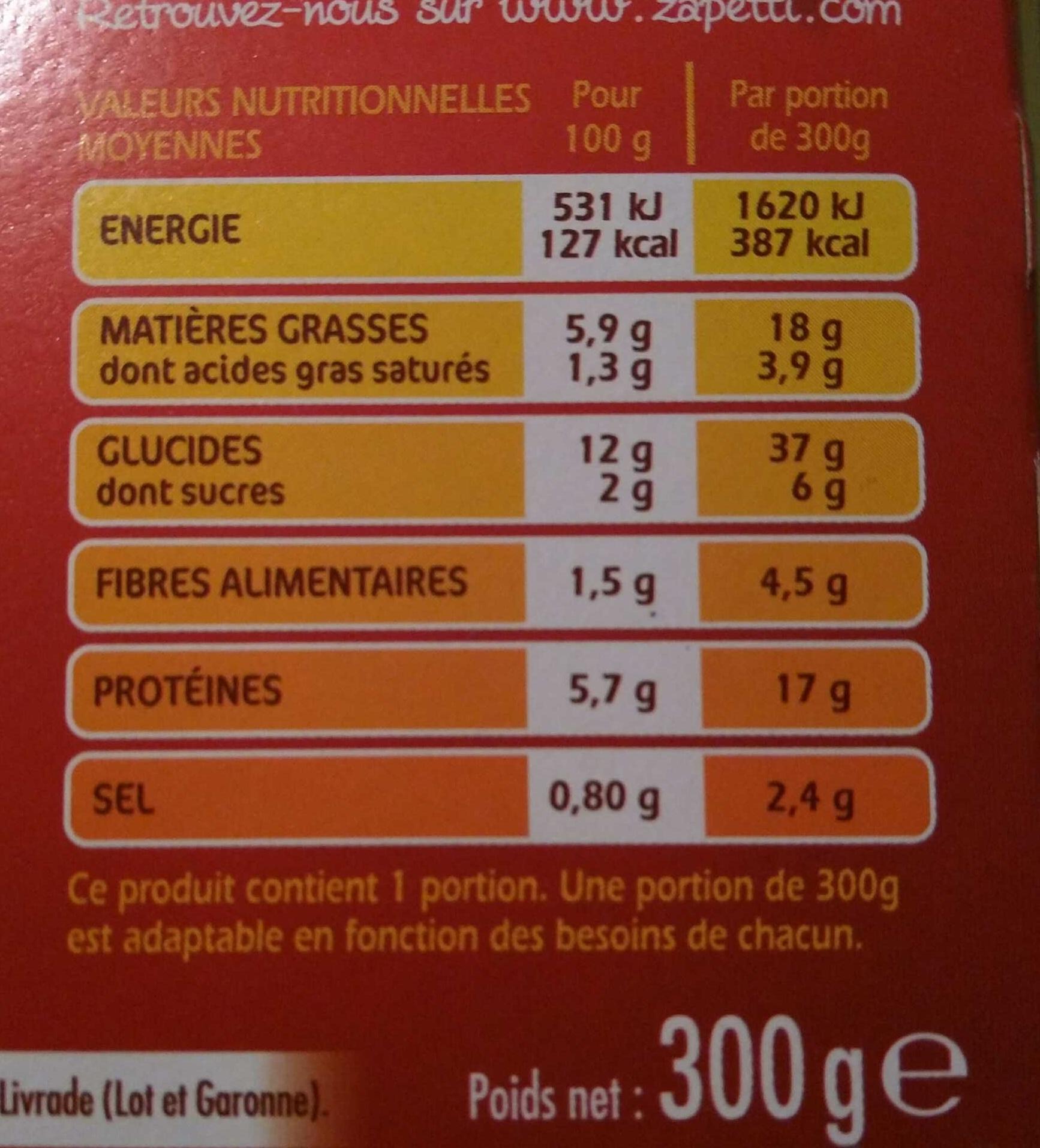 Poulet Milanaise Torti à la Sauce Tomate - Informations nutritionnelles