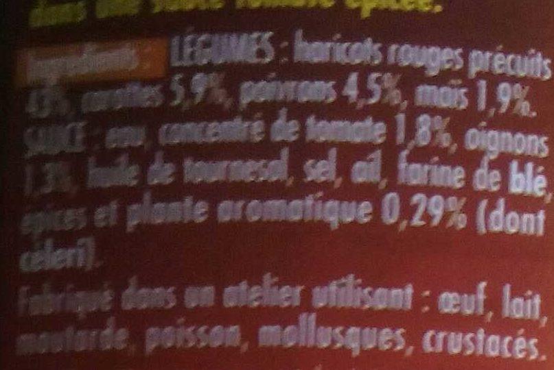 Haricots Rouges cuisinés à la Mexicaine - Ingredients - fr