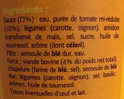 Ravioli à la sauce tomate - Ingrédients