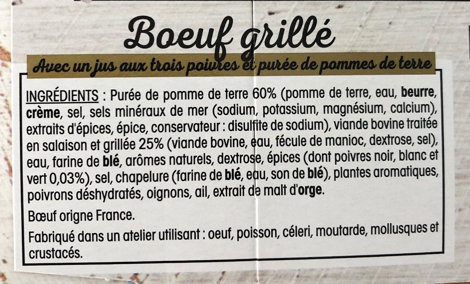 Boeuf grille puree de pommes de terre - Ingredients - fr