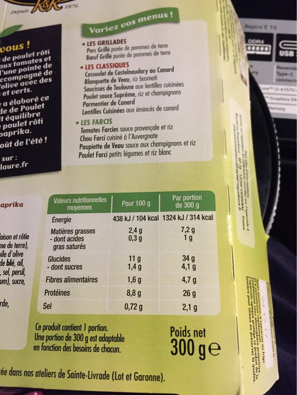 Poulet rôti blé cuisiné et tomates paprika - Nutrition facts - fr