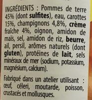 Pommes de Terre Carottes & Champignons cuisinés à la crème - Ingrédients - fr