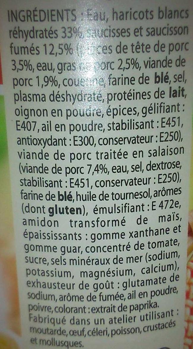Le Cassoulet pur porc - Ingredients - fr