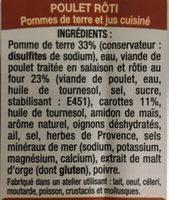 Poulet Rôti - Pommes de terre et Jus Cuisiné - Ingredients - fr