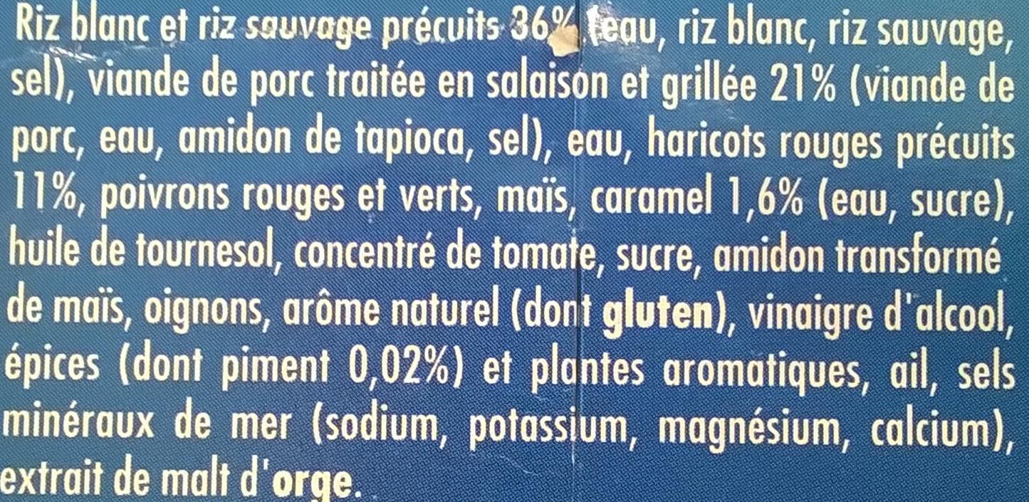 Porc grille tex mex haricots rouges & 2 riz - Ingrédients - fr
