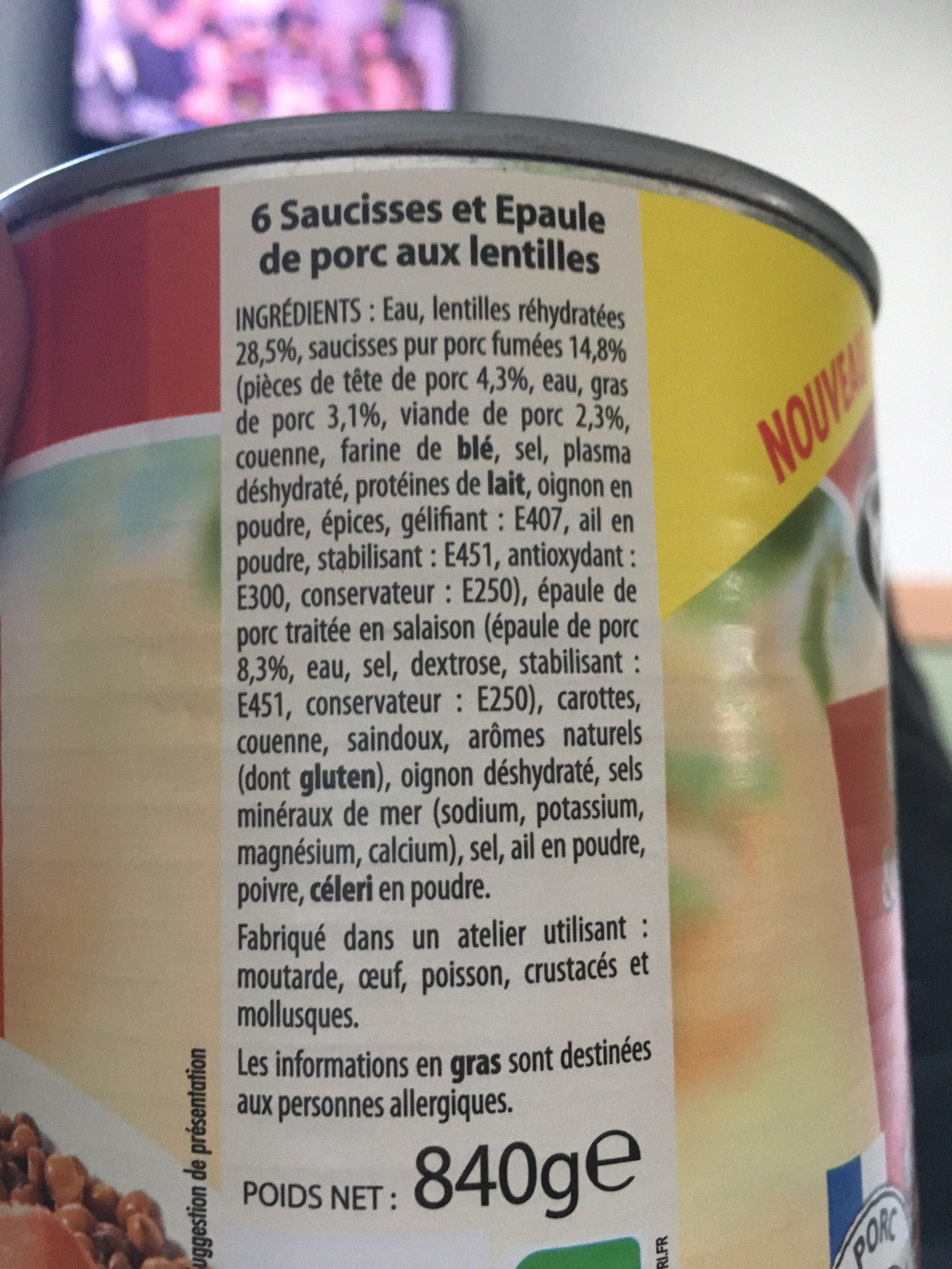 Saucisses et épaule de porc aux lentilles - Inhaltsstoffe