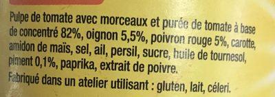 Tomate Caliente Arrabbiata Poivron, Piment - Ingrédients - fr