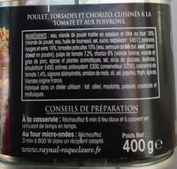 Poulet basquaise chorizo & torsades - Ingredients - fr