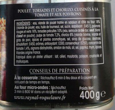 Poulet basquaise chorizo & torsades - Ingredients