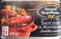 Saucisses de Montbéliard - Lentilles cuisinées - Product - fr
