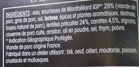 Saucisses de Montbéliard - Lentilles cuisinées - Ingredients - fr