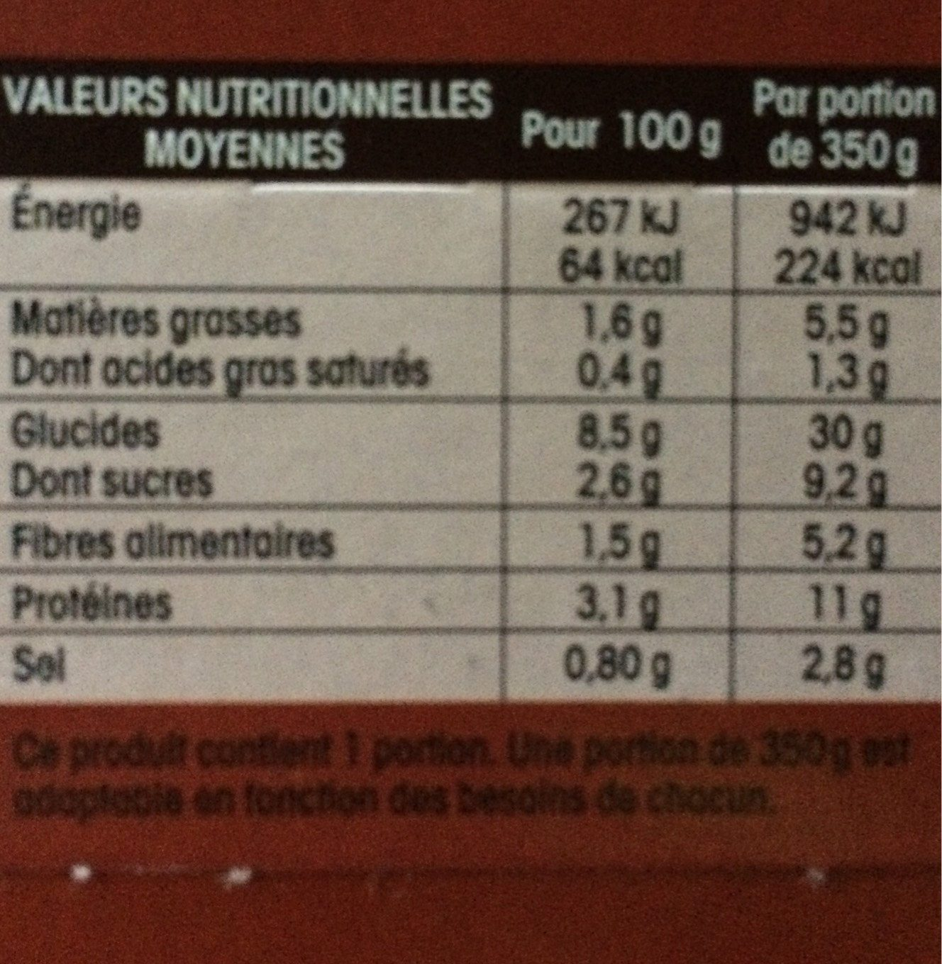Ma soupe repas minestrone - Nutrition facts - fr