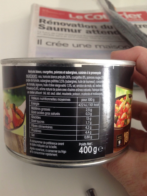 Ratatouille et haricots blancs - Ingredients - fr