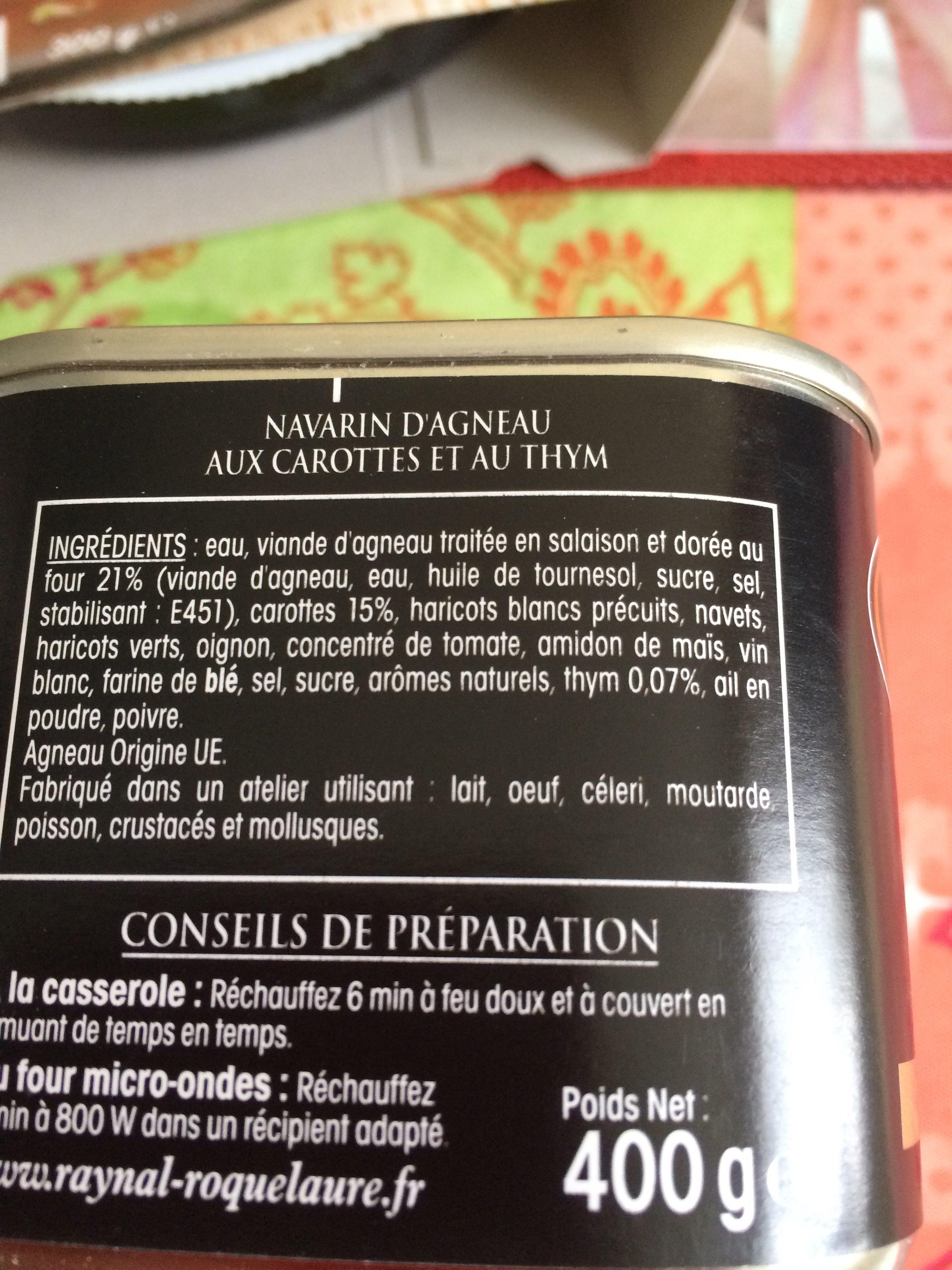 Navarin d'agneau - Ingredients - fr