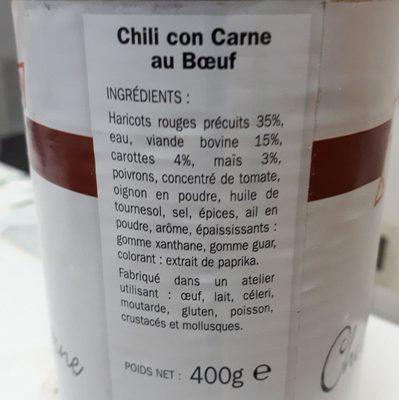 Chili con carne au boeuf - Ingredients - fr