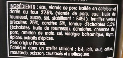 Cochon braisé Lentilles - Ingrediënten