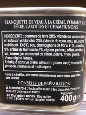 Blanquette de veau à la crème - Ingrédients - fr