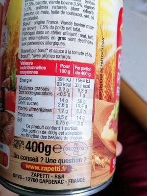 ravioli pur boeuf français - Informations nutritionnelles - fr