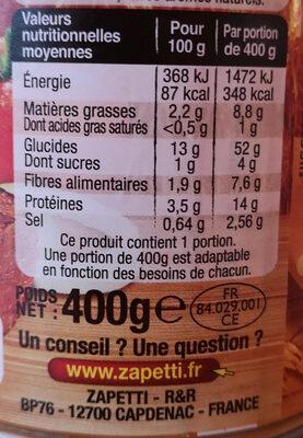 Zapetti Bio Ravioli pur bœuf - Nutrition facts