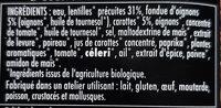 Lentilles cuisinées bio fondue d'oignons - Ingrediënten - fr