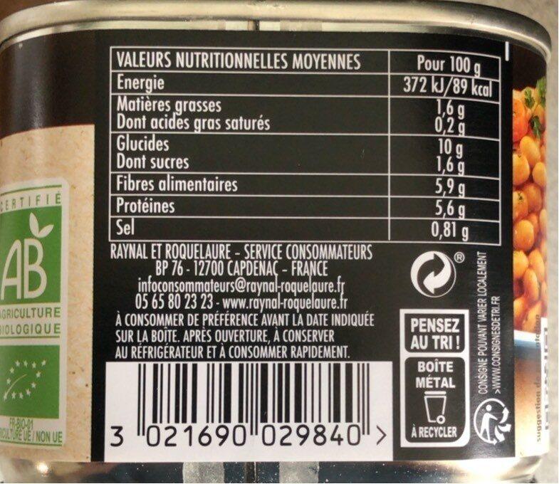 Haricots blancs cuisines bio a la provencale - Informations nutritionnelles - fr
