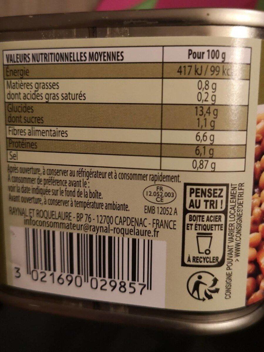 Lentilles préparées carottes & oignons - Nutrition facts - fr