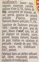 Cassoulet Toulousain Cuisiné à la Graisse d'Oie - Ingrediënten - fr