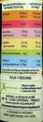 Mouton Sauté Flageolets Verts et Carottes - Informations nutritionnelles - fr