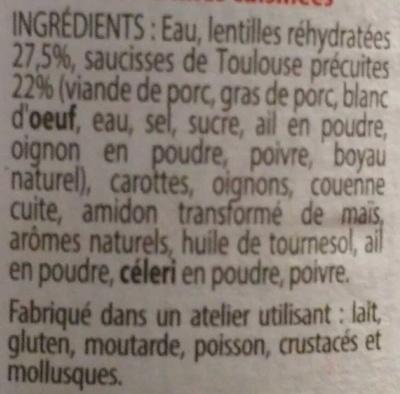 Saucisses de Toulouse - Lentilles cuisinées - Ingredients - fr
