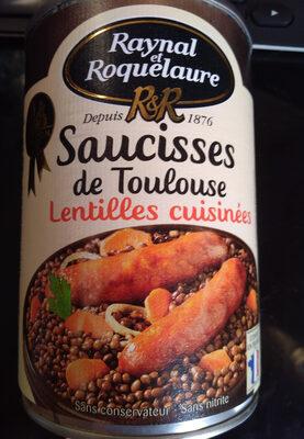 Saucisses de Toulouse Lentilles cuisinées - Product
