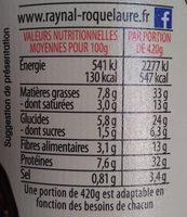 Saucisses de Toulouse Lentilles cuisinées - Voedigswaarden