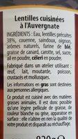 Lentilles cuisinées à l'Auvergnate - Ingrédients - fr