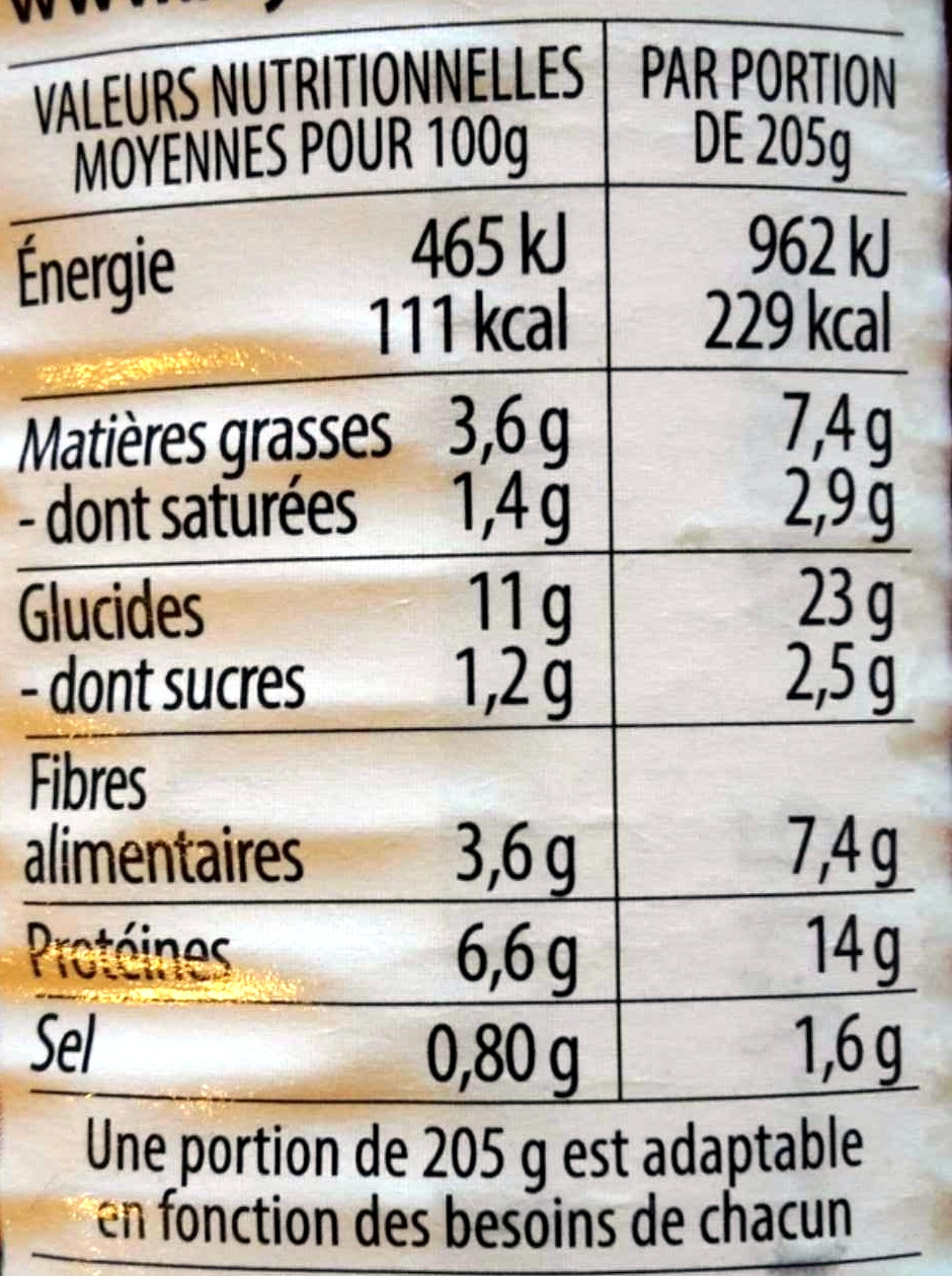 Lentilles cuisinées à l'Auvergnate - Voedingswaarden - fr