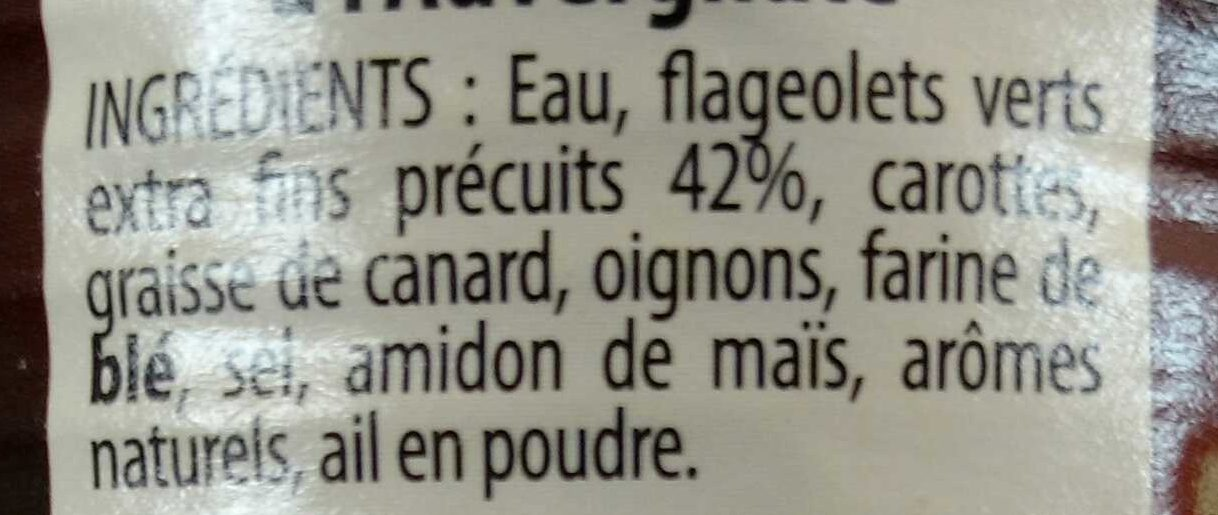 Flageolets cuisinés à l'Auvergnat - Ingredients